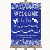 Navy Blue Burlap & Lace Welcome To Our Engagement Party Wedding Sign
