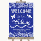Navy Blue Burlap & Lace Welcome To Our Wedding Customised Wedding Sign