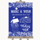 Navy Blue Burlap & Lace Wishing Well Message Customised Wedding Sign
