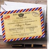Vintage Airmail Telegram Postcard Customised Birthday Party Invitations