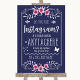 Navy Blue Pink & Silver Instagram Photo Sharing Customised Wedding Sign