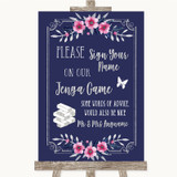 Navy Blue Pink & Silver Jenga Guest Book Customised Wedding Sign