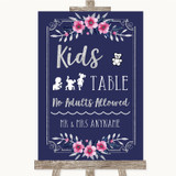 Navy Blue Pink & Silver Kids Table Customised Wedding Sign