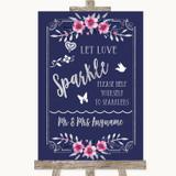 Navy Blue Pink & Silver Let Love Sparkle Sparkler Send Off Wedding Sign