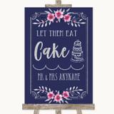 Navy Blue Pink & Silver Let Them Eat Cake Customised Wedding Sign