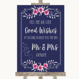 Navy Blue Pink & Silver Blow Bubbles Customised Wedding Sign