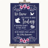 Navy Blue Pink & Silver Loved Ones In Heaven Customised Wedding Sign