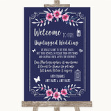Navy Blue Pink & Silver No Phone Camera Unplugged Customised Wedding Sign