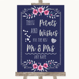 Navy Blue Pink & Silver Petals Wishes Confetti Customised Wedding Sign