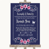 Navy Blue Pink & Silver Photo Guestbook Friends & Family Wedding Sign