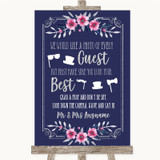 Navy Blue Pink & Silver Photo Prop Guestbook Customised Wedding Sign