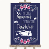 Navy Blue Pink & Silver Photobooth This Way Left Customised Wedding Sign
