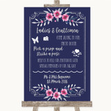 Navy Blue Pink & Silver Pick A Prop Photobooth Customised Wedding Sign