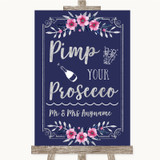 Navy Blue Pink & Silver Pimp Your Prosecco Customised Wedding Sign