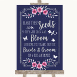 Navy Blue Pink & Silver Plant Seeds Favours Customised Wedding Sign