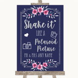 Navy Blue Pink & Silver Polaroid Picture Customised Wedding Sign