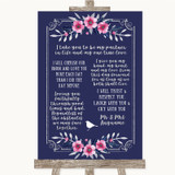 Navy Blue Pink & Silver Romantic Vows Customised Wedding Sign