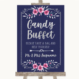 Navy Blue Pink & Silver Candy Buffet Customised Wedding Sign