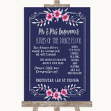 Navy Blue Pink & Silver Rules Of The Dance Floor Customised Wedding Sign