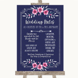 Navy Blue Pink & Silver Rules Of The Wedding Customised Wedding Sign