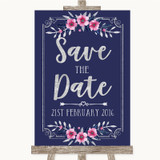 Navy Blue Pink & Silver Save The Date Customised Wedding Sign