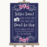 Navy Blue Pink & Silver Selfie Photo Prop Customised Wedding Sign