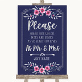 Navy Blue Pink & Silver Share Your Wishes Customised Wedding Sign