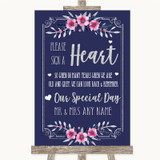 Navy Blue Pink & Silver Sign a Heart Customised Wedding Sign