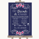 Navy Blue Pink & Silver Signature Favourite Drinks Customised Wedding Sign