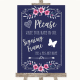 Navy Blue Pink & Silver Signing Frame Guestbook Customised Wedding Sign