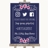 Navy Blue Pink & Silver Social Media Hashtag Photos Customised Wedding Sign