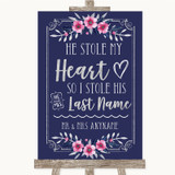 Navy Blue Pink & Silver Stole Last Name Customised Wedding Sign