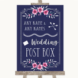 Navy Blue Pink & Silver Card Post Box Customised Wedding Sign