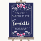 Navy Blue Pink & Silver Take Some Confetti Customised Wedding Sign