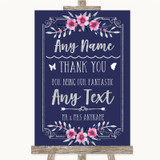 Navy Blue Pink & Silver Thank You Bridesmaid Page Boy Best Man Wedding Sign