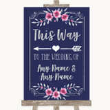 Navy Blue Pink & Silver This Way Arrow Left Customised Wedding Sign