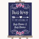 Navy Blue Pink & Silver This Way Arrow Right Customised Wedding Sign