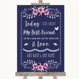 Navy Blue Pink & Silver Today I Marry My Best Friend Customised Wedding Sign