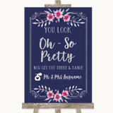 Navy Blue Pink & Silver Toilet Get Out & Dance Customised Wedding Sign