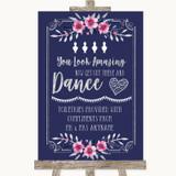 Navy Blue Pink & Silver Toiletries Comfort Basket Customised Wedding Sign