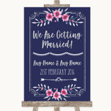 Navy Blue Pink & Silver We Are Getting Married Customised Wedding Sign
