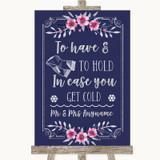 Navy Blue Pink & Silver Wedding Blanket Scarf Customised Wedding Sign