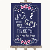 Navy Blue Pink & Silver Cards & Gifts Table Customised Wedding Sign