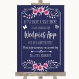 Navy Blue Pink & Silver Wedpics App Photos Customised Wedding Sign