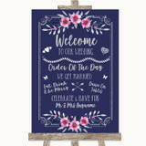 Navy Blue Pink & Silver Welcome Order Of The Day Customised Wedding Sign