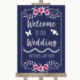 Navy Blue Pink & Silver Welcome To Our Wedding Customised Wedding Sign