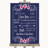 Navy Blue Pink & Silver When I Tell You I Love You Customised Wedding Sign