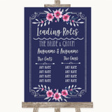 Navy Blue Pink & Silver Who's Who Leading Roles Customised Wedding Sign