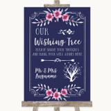 Navy Blue Pink & Silver Wishing Tree Customised Wedding Sign