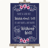 Navy Blue Pink & Silver Wishing Well Message Customised Wedding Sign